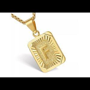 "Gold Filled Letter F Pendant 18"" Long Necklace"
